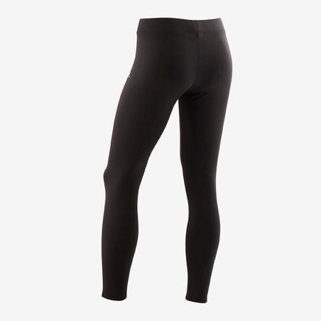 S500 Warm Breathable Synthetic Gym Leggings Black - Girls