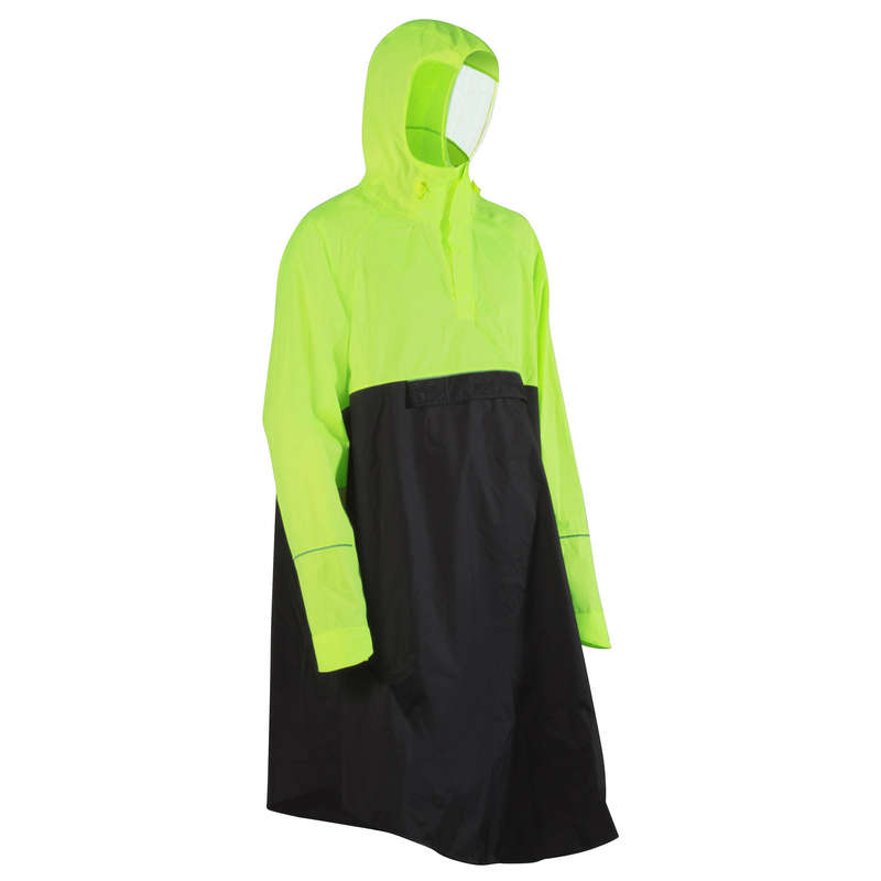 RAIN WEATHER CITY CYCLING APPAREL & ACC Clothing - 900 Urban Cycling Poncho - Yellow/Black B'TWIN - By Sport