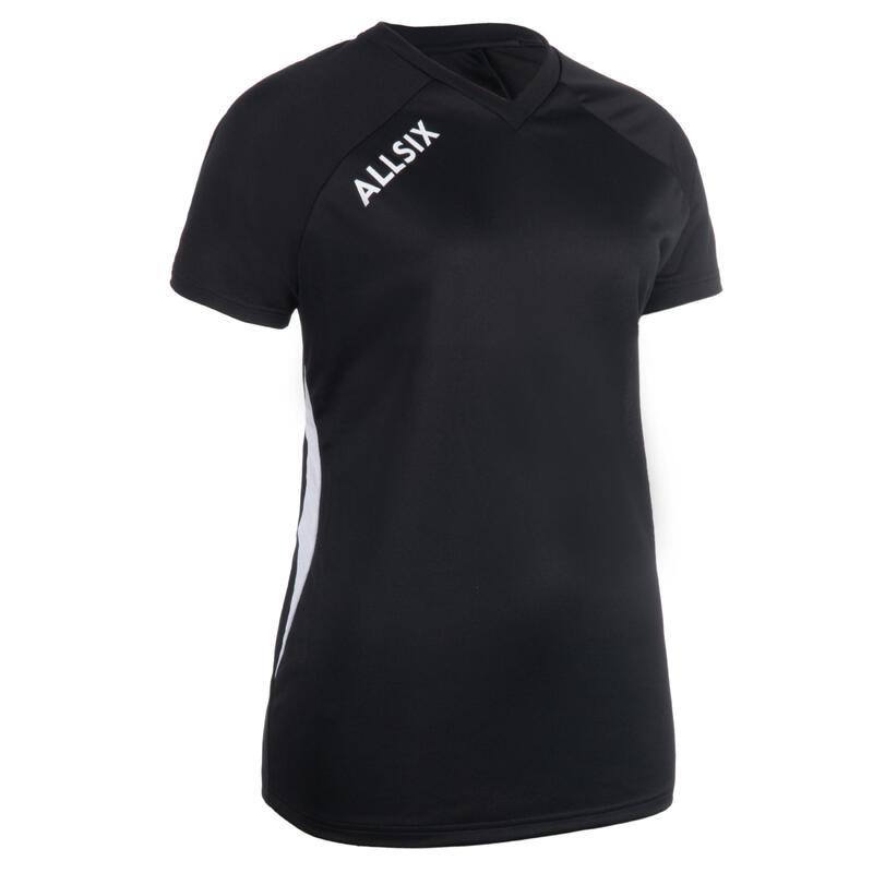 Camiseta de Voleibol Allsix V100 mujer negro
