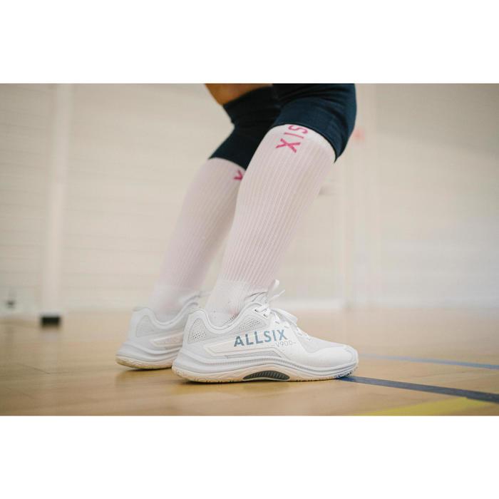 Chaussures de volley-ball VS900 femme blanches, grises et bleues