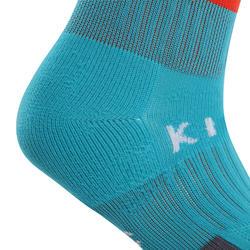 兒童款足球襪F500-淺碧藍色與橘色配色