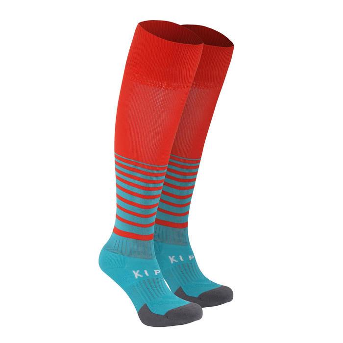 Kids' Football Socks F500 with Stripes - Turquoise/Orange