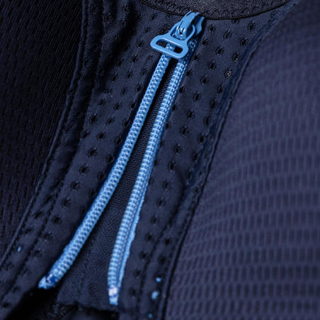 Soutien-gorge de course à pied à fermeture à glissière bleu