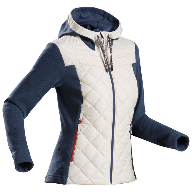 DÁMSKÉ SVETRY A MIKINY NA NENÁROČNOU TURISTIKU Turistika - Hybridní svetr NH 100 šedý QUECHUA - Turistické oblečení