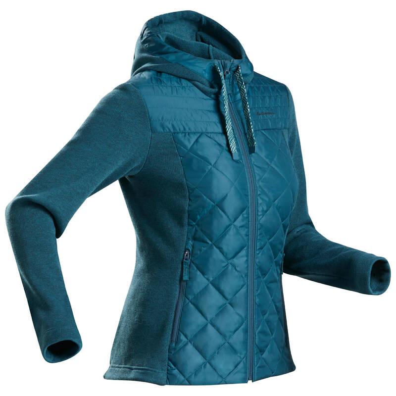 DÁMSKÉ SVETRY A MIKINY NA NENÁROČNOU TURISTIKU Turistika - Hybridní svetr NH 100 modrý QUECHUA - Turistické oblečení