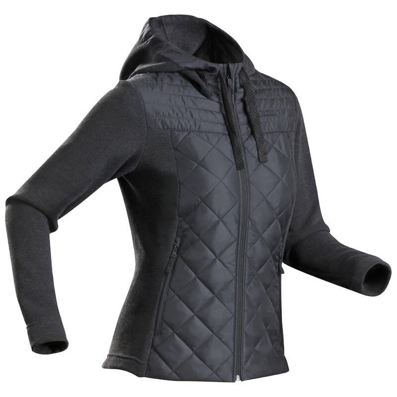 DÁMSKÉ SVETRY A MIKINY NA NENÁROČNOU TURISTIKU Turistika - Hybridní svetr NH 100 černý QUECHUA - Turistické oblečení