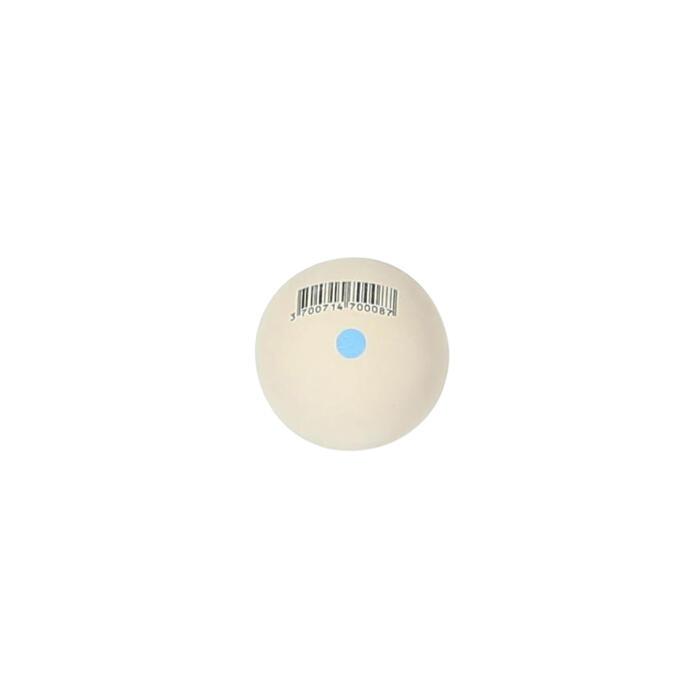 Pelote blanche point bleu balle gomme pleine