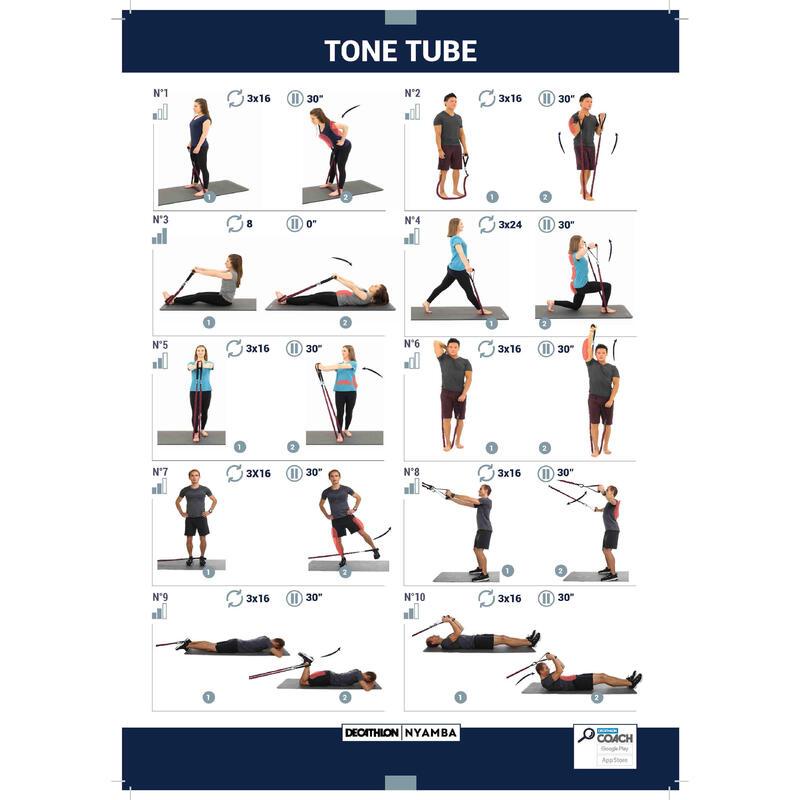 ยางยืดออกกำลังกายแรงต้านปานกลางพร้อมมือจับสำหรับกระชับกล้ามเนื้อรุ่น 5 กก./10 ปอนด์
