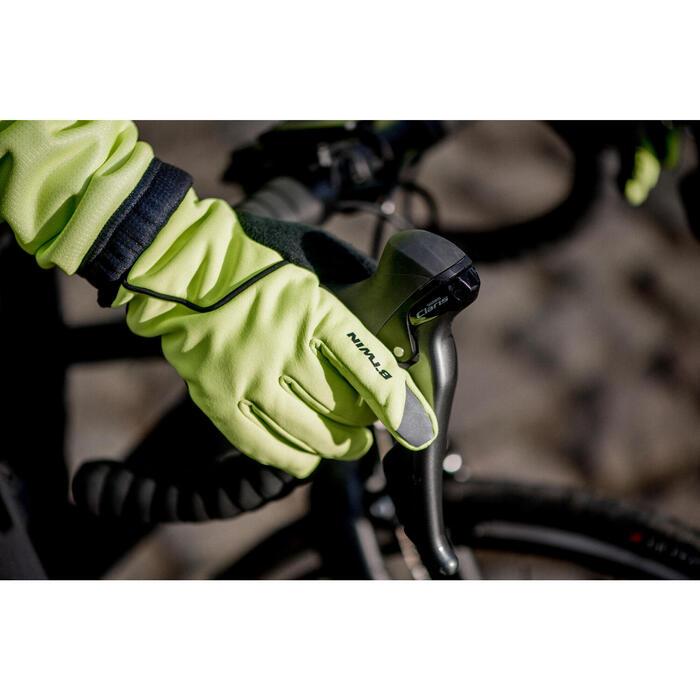 Fietshandschoenen kind 500 winter fluo geel/groen