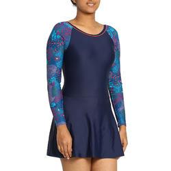 Women swimming costume full sleeves - printed purple