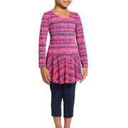 Girls' One-Piece Sleeve Leg Swimsuit Audrey- All Zag Pink