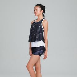 女款有氧健身訓練3合1背心520-淡紫色/白色