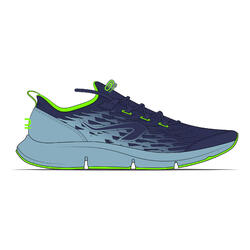 AT Flex Run denim blue and fluorescent green children's running shoes with laces