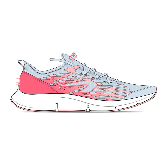 AT Flex Run children's running shoes with laces - grey and pink