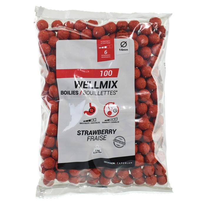 bouillettes pêche de la carpe Wellmix 14 mm fraise 1 kg