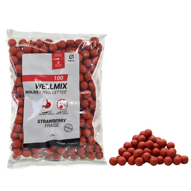 Boilies voor karpervissen Wellmix 14 mm aardbei 1 kg
