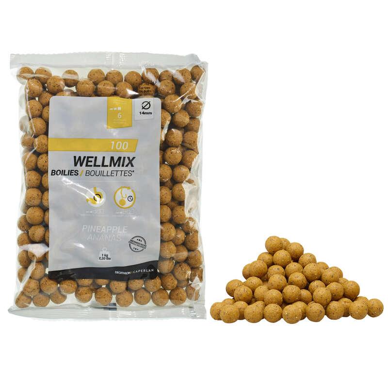 PRZYNĘTY KARPIOWE Wędkarstwo - Kulki proteinowe Caperlan Wellmix Ananas 1KG 14MM CAPERLAN - Przynęty, zanęty karpiowe