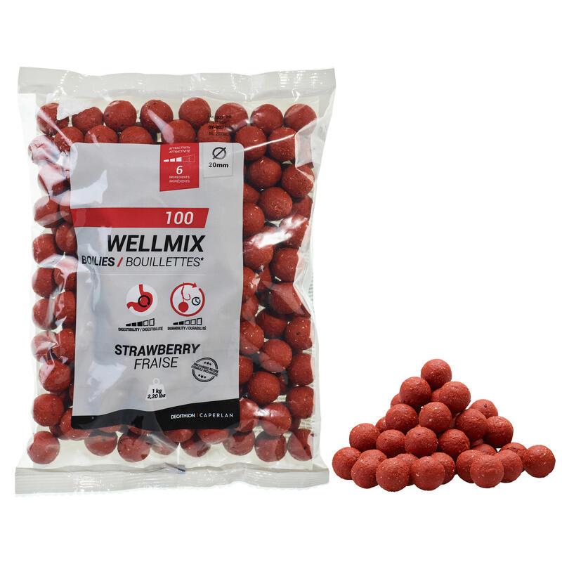 Boilies voor karper Wellmix 20 mm 1 kg aardbei