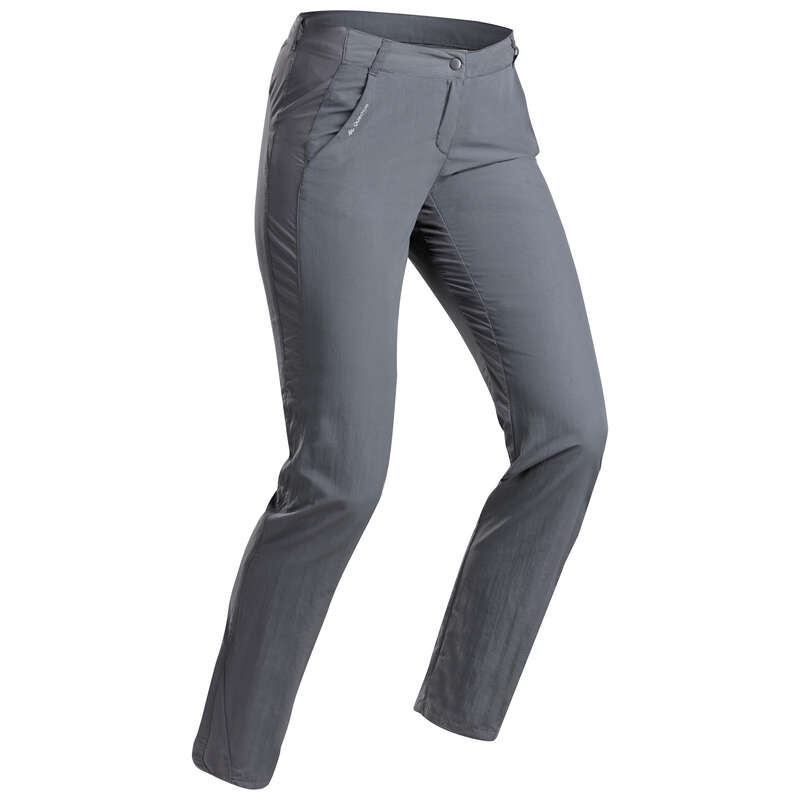 WOMEN MOUNT HIKING TEE SHIRTS, PANTS Hiking - W MH100 trousers – Dark Grey QUECHUA - Hiking Clothes