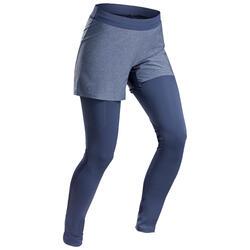 Legging short de randonnée rapide Femme FH900 bleu