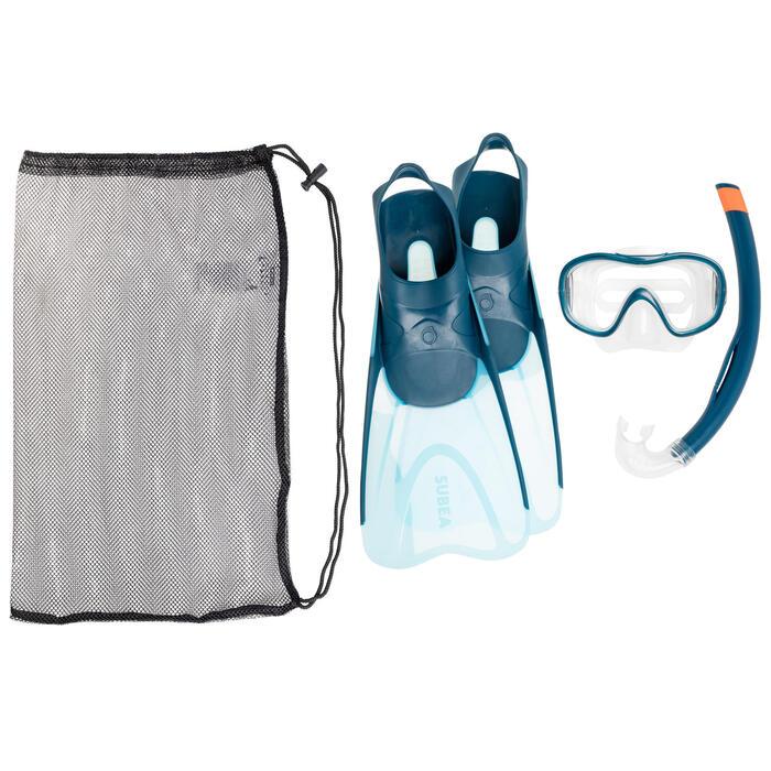 Set met duikvinnen, snorkel en snorkelbril voor volwassenen SNK 500 blauw