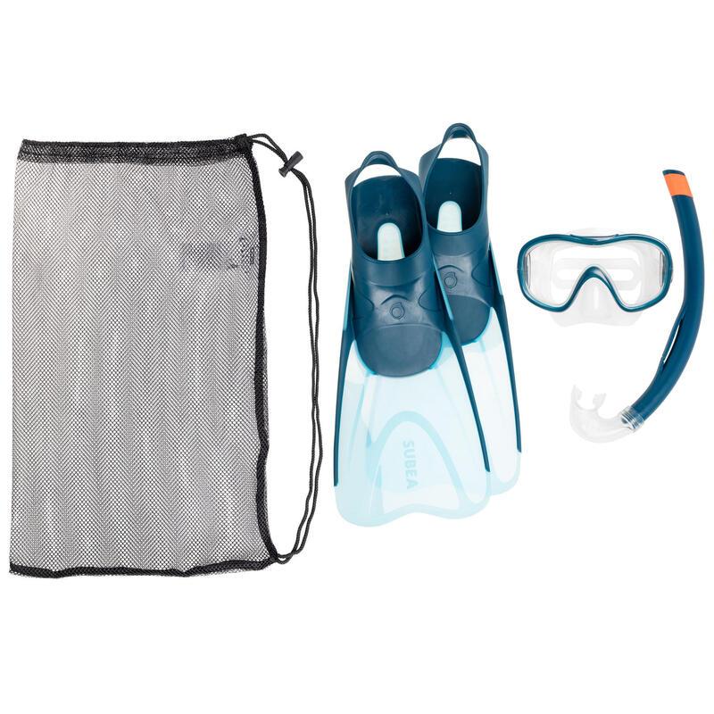 Kit Snorkeling Mască, Tub și Labe de înot SNK 500 Albastru Adulți