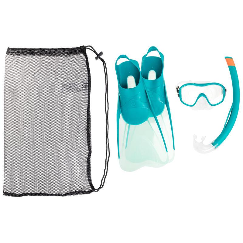 Adult's diving snorkelling Fins Mask and Snorkel kit SNK 500 - pastel mint