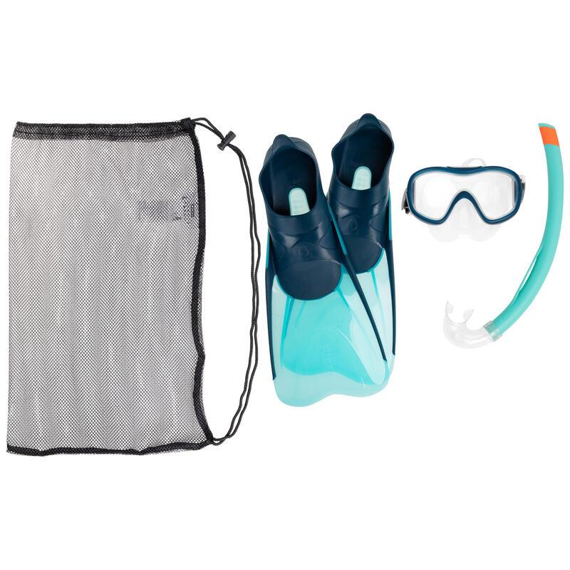 Set met duikvinnen, snorkel en snorkelbril voor kinderen SNK 500 turquoise
