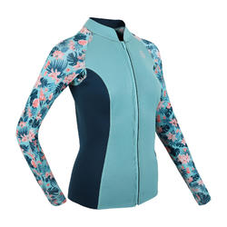 Women's Long Sleeve Neoprene Thermal Top 500 turquoise CN