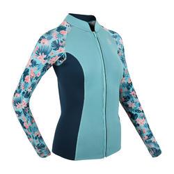 Women's Long Sleeve Neoprene Thermal Top 500 turquoise CN