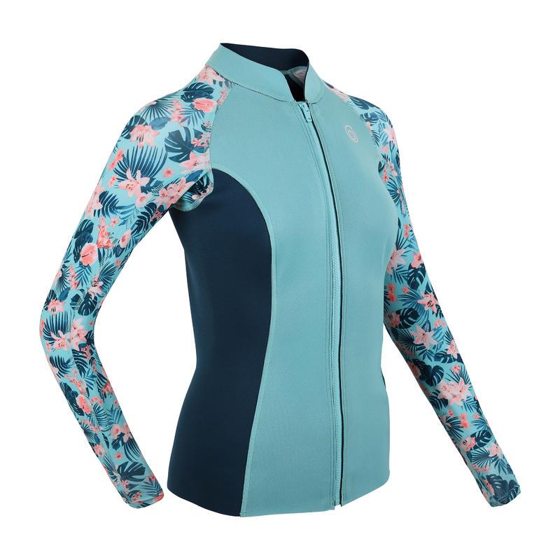 เสื้อนีโอพรีนเก็บอุณหภูมิแขนยาวสำหรับผู้หญิงรุ่น 500 (สีฟ้า Turquoise)