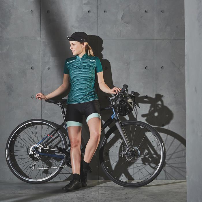 Wielershirt dames RC500 met korte mouwen geometric groen