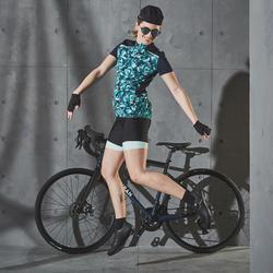 Wielershirt dames RC500 met korte mouwen floral groen