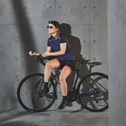 500 Short-Sleeve Cycling Jersey Navy - Women