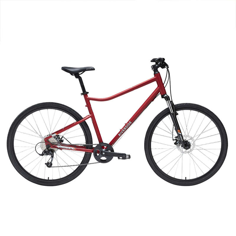 HYBRID TREKKING BIKE Cycling - 500 Hybrid Bike - Red RIVERSIDE - Bikes