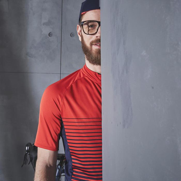 Fietsshirt met korte mouwen voor wielrennen heren RC100 warm weer rood lines