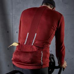 Fietsshirt met lange mouwen voor heren recreatief RC900 merinoswol bordeaux