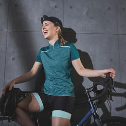MAILLOT MANCHES COURTES VELO ROUTE FEMME TRIBAN 500 GEOMETRIC VERT
