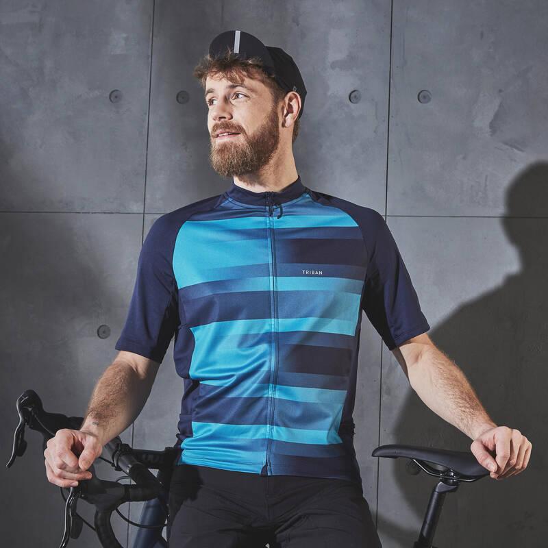 PÁNSKÉ OBLEČENÍ NA SILNIČNÍ CYKLISTIKU DO TEPLÉHO POČASÍ Cyklistika - CYKLISTICKÝ DRES RC100 MODRÝ TRIBAN - Helmy, oblečení, obuv