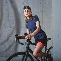 """Sieviešu riteņbraukšanas bezlenču šorti """"500"""", melni/rozā"""