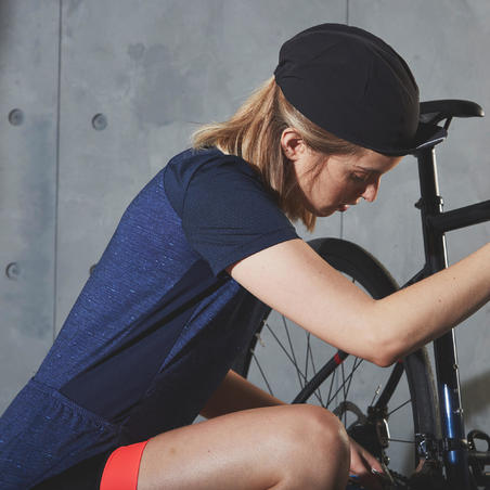 500 Short-Sleeve Cycling Jersey Navy - Women