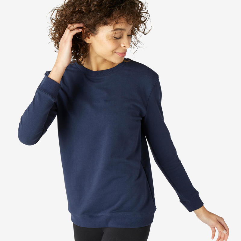 Sweater voor fitness ronde hals marineblauw