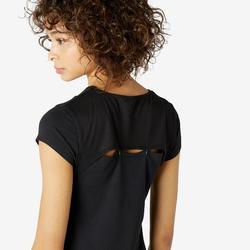 T-shirt voor pilates en lichte gym dames 520 zwart