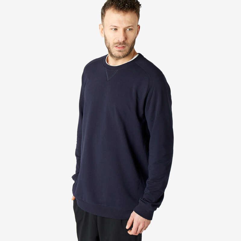 KLÄDER FÖR GYMNASTIK, PILATES KALL VÄDER Pilates - Sweatshirt 100 Herr marinblå NYAMBA - Pilates