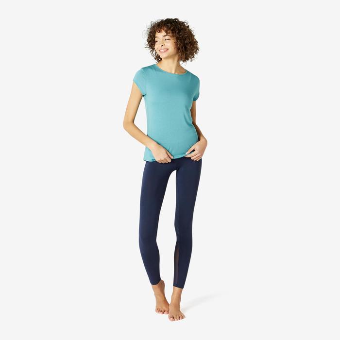T-shirt Sport Pilates Gym Douce Femme 520 Bleu Gris