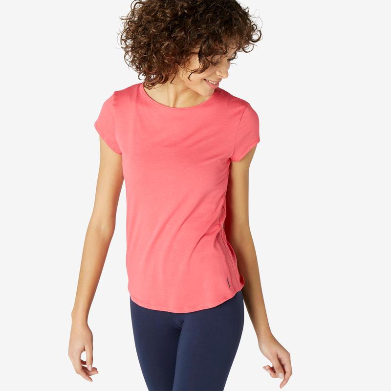 Kaus Olahraga Pilates & Senam Ringan Wanita 520 - Merah Muda