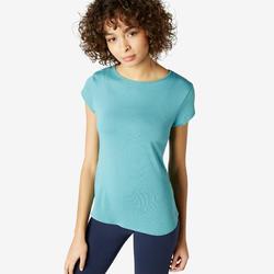 Camiseta Manga corta fitness cuello redondo Nyamba mujer 520 Azul Gris
