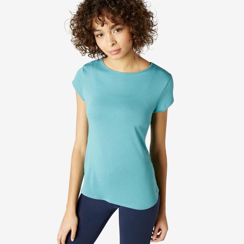 Women's Pilates & Gentle Gym Sport T-Shirt 520 - Blue Grey