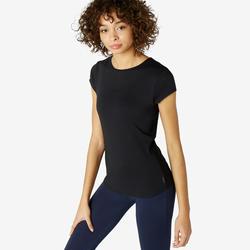 Camiseta Manga corta fitness cuello redondo Nyamba mujer 520 Negro