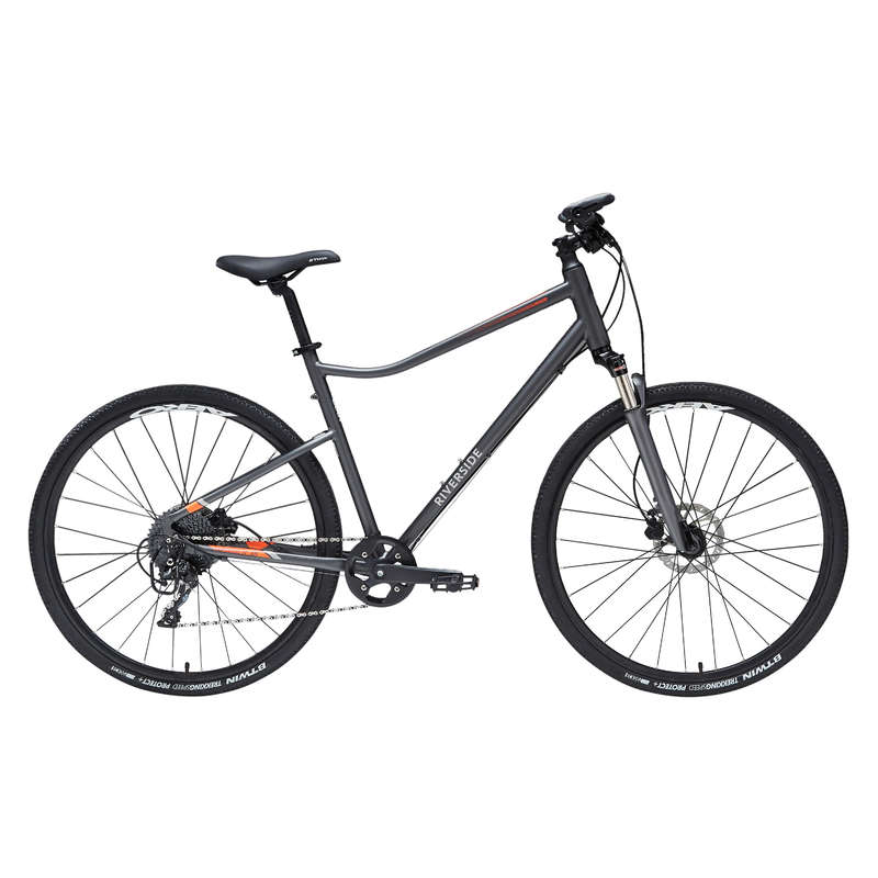 HYBRID TREKKING BIKE Cycling - 900 Hybrid Bike - Grey/Orange RIVERSIDE - Bikes